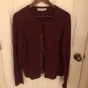 Burgundy Loft Sweater with Lace Back